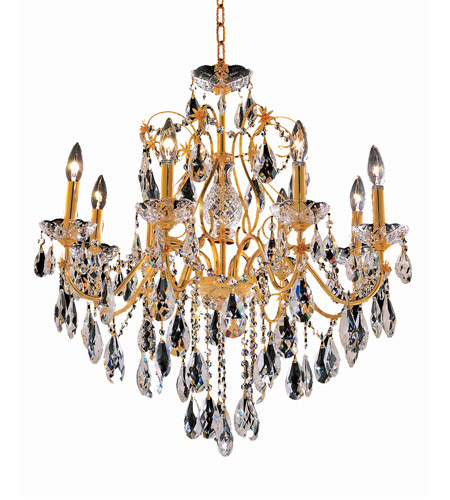Elegant Lighting St. Francis 8 Light Dining Chandelier in Gold with Spectra Swarovski Clear Crystal 2016D26G/SA photo