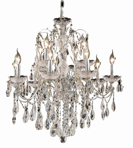 Elegant Lighting St. Francis 12 Light Dining Chandelier in Chrome with Royal Cut Clear Crystal 2016D28C/RC photo
