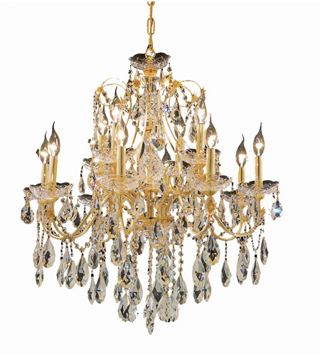 Elegant Lighting St. Francis 12 Light Dining Chandelier in Gold with Swarovski Strass Clear Crystal 2016D28G/SS photo
