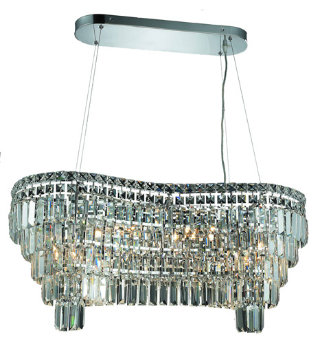 Elegant Lighting Maxim 14 Light Dining Chandelier in Chrome with Elegant Cut Clear Crystal 2019D32C/EC photo