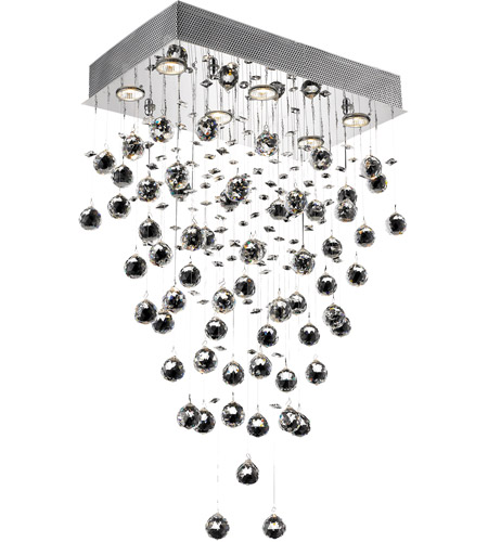Elegant Lighting Galaxy 6 Light Dining Chandelier in Chrome with Swarovski Strass Clear Crystal 2021D20C/SS photo