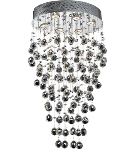 Elegant Lighting Galaxy 6 Light Dining Chandelier in Chrome with Swarovski Strass Clear Crystal 2022D20C/SS photo
