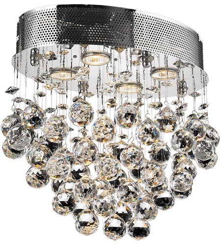 Elegant Lighting V2022F16C/EC Galaxy 4 Light 12 inch Chrome Flush Mount Ceiling Light in Elegant Cut photo