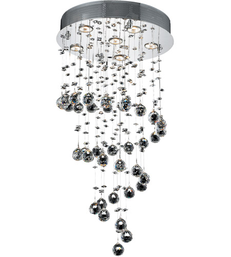 Elegant Lighting 2024D18C/SA Galaxy 6 Light 18 inch Chrome Dining Chandelier Ceiling Light in GU10, Clear, Spectra Swarovski photo