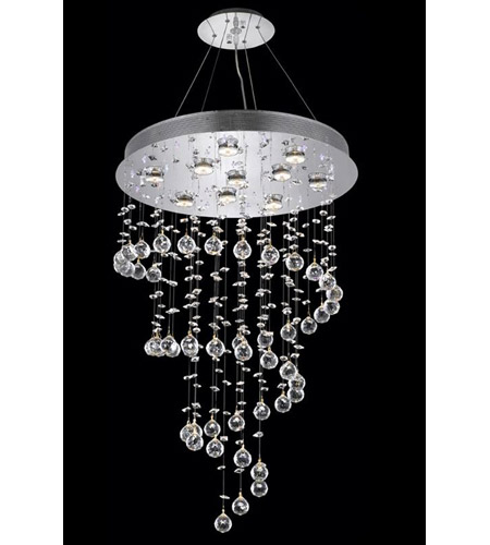 Elegant Lighting 2024d24c Led Rc Galaxy 10 Light 24 Inch Chrome Dining Chandelier