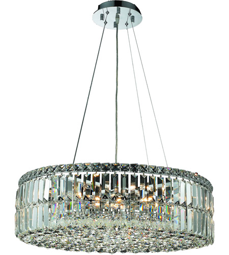 Elegant Lighting Maxim 12 Light Dining Chandelier in Chrome with Swarovski Strass Clear Crystal 2030D24C/SS photo