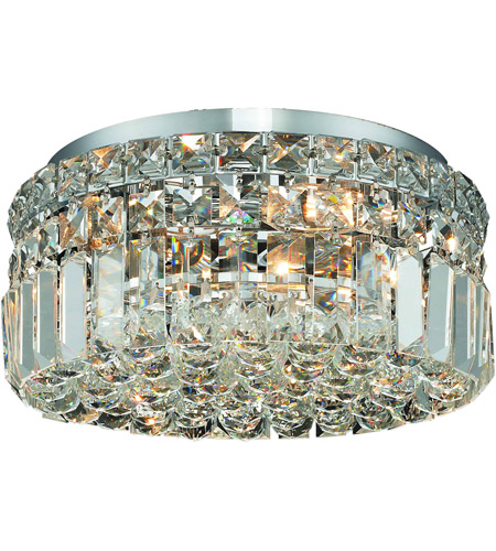 Elegant Lighting Maxim 4 Light Flush Mount in Chrome with Royal Cut Clear Crystal 2030F12C/RC photo