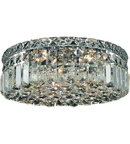 Elegant Lighting Maxim 4 Light Flush Mount in Chrome with Royal Cut Clear Crystal 2030F14C/RC photo