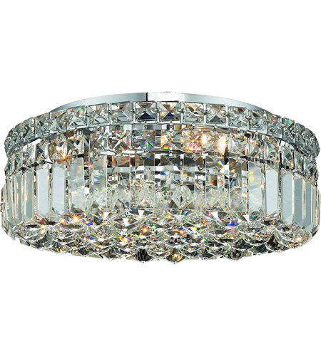 Elegant Lighting Maxim 5 Light Flush Mount in Chrome with Elegant Cut Clear Crystal 2030F16C/EC photo