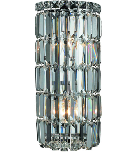 Elegant Lighting Maxim 2 Light Wall Sconce in Chrome with Spectra Swarovski Clear Crystal 2030W8C/SA photo