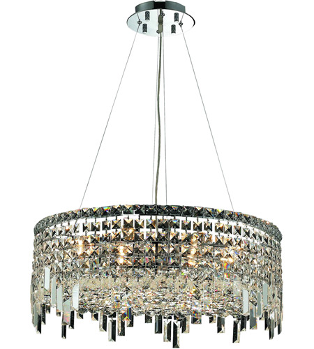 Elegant Lighting Maxim 12 Light Dining Chandelier in Chrome with Swarovski Strass Clear Crystal 2031D24C/SS photo