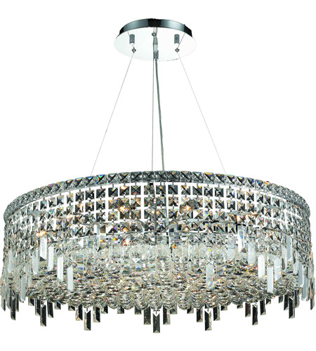 Elegant Lighting 2031D32C/RC Maxim 18 Light 32 inch Chrome Dining Chandelier Ceiling Light in Royal Cut photo