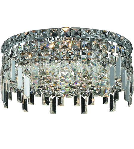 Elegant Lighting Maxim 4 Light Flush Mount in Chrome with Royal Cut Clear Crystal 2031F14C/RC photo