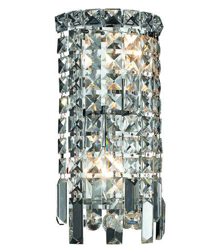 Elegant Lighting Maxim 2 Light Wall Sconce in Chrome with Royal Cut Clear Crystal 2031W6C/RC photo