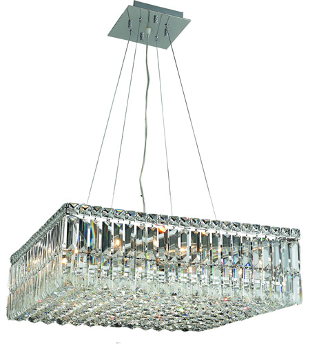 Elegant Lighting Maxim 12 Light Dining Chandelier in Chrome with Swarovski Strass Clear Crystal 2032D24C/SS photo