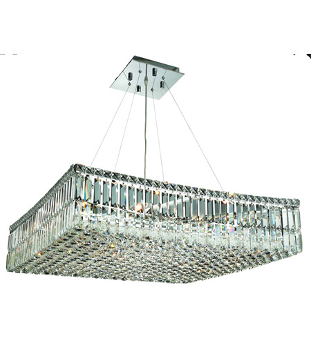 Elegant Lighting Maxim 12 Light Dining Chandelier in Chrome with Spectra Swarovski Clear Crystal 2032D28C/SA photo