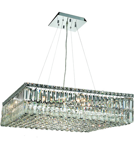 Elegant Lighting Maxim 12 Light Dining Chandelier in Chrome with Swarovski Strass Clear Crystal 2032D32C/SS photo