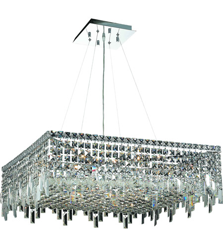 Elegant Lighting Maxim 12 Light Dining Chandelier in Chrome with Swarovski Strass Clear Crystal 2033D28C/SS photo