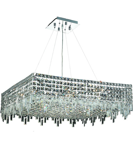Elegant Lighting Maxim 12 Light Dining Chandelier in Chrome with Swarovski Strass Clear Crystal 2033D32C/SS photo