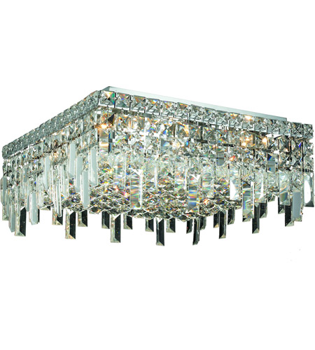 Elegant Lighting Maxim 6 Light Flush Mount in Chrome with Swarovski Strass Clear Crystal 2033F16C/SS photo