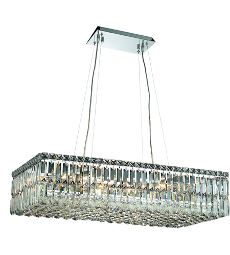 Elegant Lighting Maxim 16 Light Dining Chandelier in Chrome with Elegant Cut Clear Crystal 2034D32C/EC photo