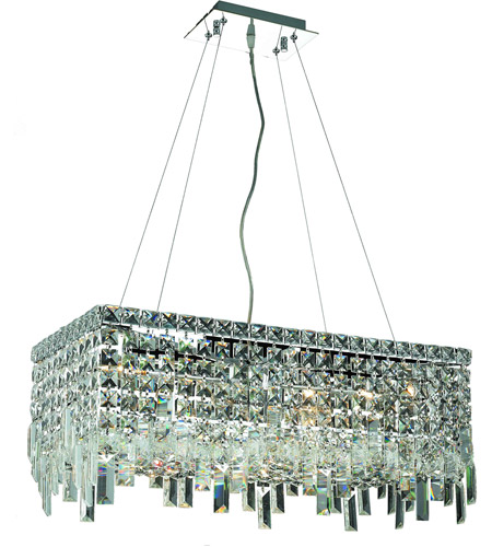 Elegant Lighting Maxim 6 Light Dining Chandelier in Chrome with Swarovski Strass Clear Crystal 2035D24C/SS photo
