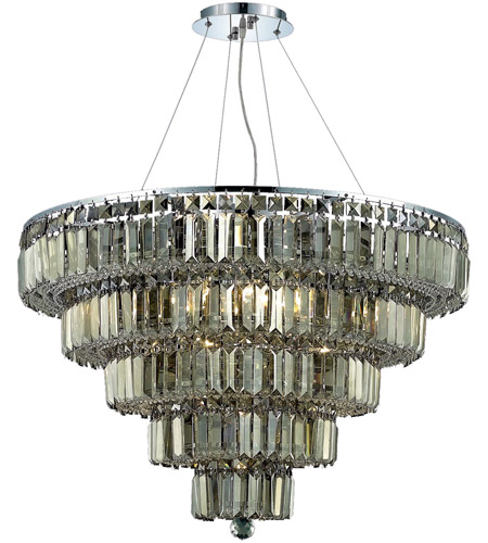 Elegant Lighting 2036D30C-GT/RC Maxim 17 Light 30 inch Chrome Dining Chandelier Ceiling Light in Golden Teak, Royal Cut photo