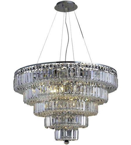 Elegant Lighting Maxim 17 Light Dining Chandelier in Chrome with Elegant Cut Clear Crystal 2036D30C/EC photo