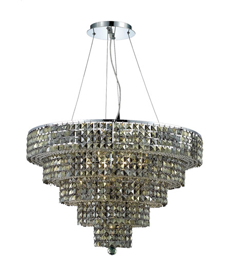 Elegant Lighting Maxim 17 Light Dining Chandelier in Chrome with Swarovski Strass Golden Teak Crystal 2037D30C-GT/SS photo