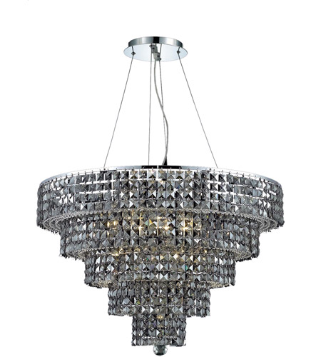 Elegant Lighting Maxim 17 Light Dining Chandelier in Chrome with Swarovski Strass Silver Shade Crystal 2037D30C-SS/SS photo