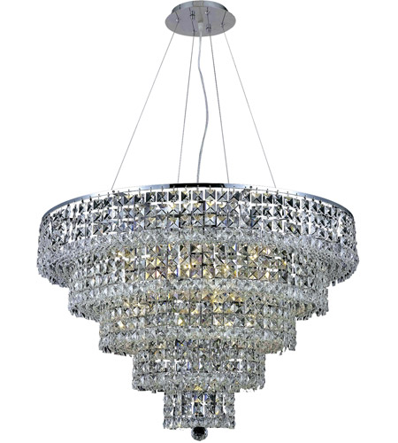 Elegant Lighting Maxim 17 Light Dining Chandelier in Chrome with Royal Cut Clear Crystal 2037D30C/RC photo