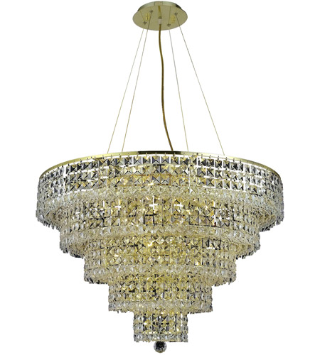 Elegant Lighting 2037D30G/SS Maxim 17 Light 30 inch Gold Dining Chandelier Ceiling Light in Clear, Swarovski Strass photo