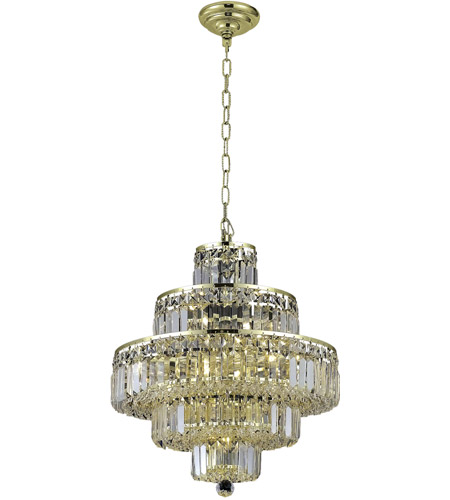 Elegant Lighting 2038D20G/RC Maxime 13 Light 20 inch Gold Dining Chandelier Ceiling Light in Clear, Royal Cut photo