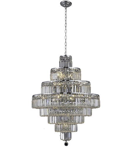 Elegant Lighting Maxim 18 Light Dining Chandelier in Chrome with Spectra Swarovski Clear Crystal 2038D26C/SA photo