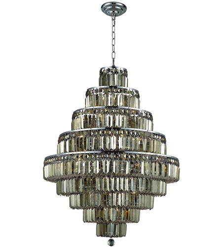 Elegant Lighting 2038D30C-GT/SS Maxim 20 Light 30 inch Chrome Dining Chandelier Ceiling Light in Golden Teak, Swarovski Strass photo