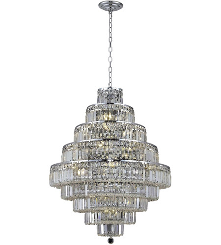 Elegant Lighting Maxim 20 Light Dining Chandelier in Chrome with Elegant Cut Clear Crystal 2038D30C/EC photo