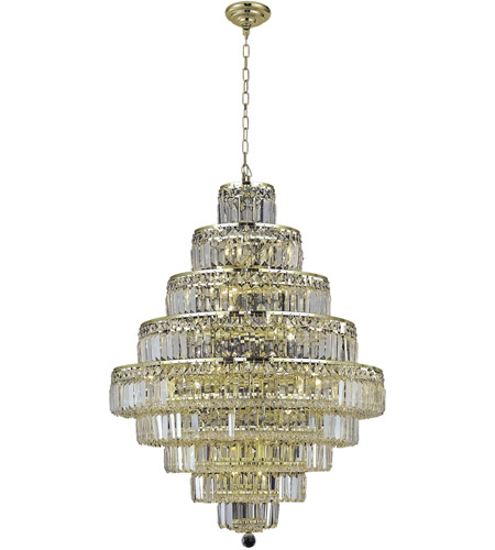Elegant Lighting 2038D30G/SA Maxim 20 Light 30 inch Gold Dining Chandelier Ceiling Light in Clear, Spectra Swarovski photo