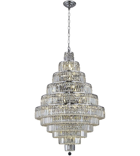 Elegant Lighting 2038D32C/SA Maxime 30 Light 32 inch Chrome Dining Chandelier Ceiling Light in Clear, Spectra Swarovski photo