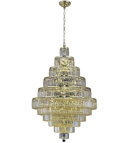 Elegant Lighting 2038D32G/SA Maxim 30 Light 32 inch Gold Dining Chandelier Ceiling Light in Clear, Spectra Swarovski photo