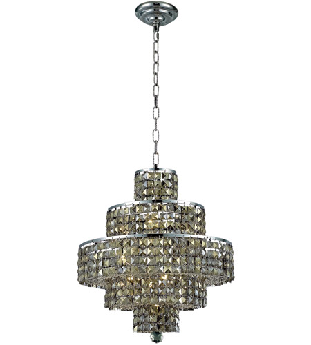 Elegant Lighting Maxim 13 Light Dining Chandelier in Chrome with Swarovski Strass Golden Teak Crystal 2039D20C-GT/SS photo