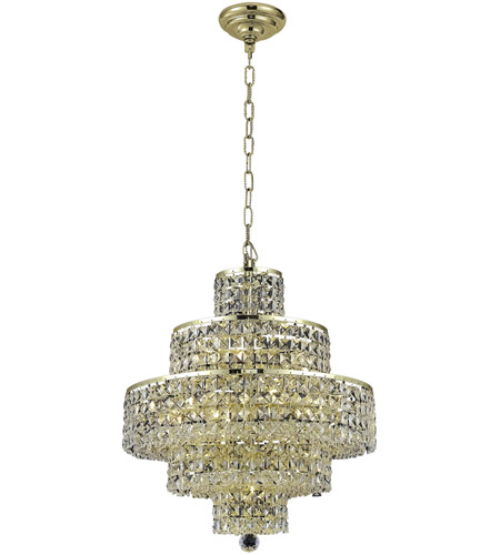Elegant Lighting Maxim 13 Light Dining Chandelier in Gold with Elegant Cut Clear Crystal 2039D20G/EC photo