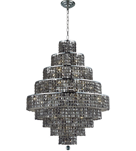 Elegant Lighting 2039D30C-SS/RC Maxim 20 Light 30 inch Chrome Dining Chandelier Ceiling Light in Silver Shade, Royal Cut photo