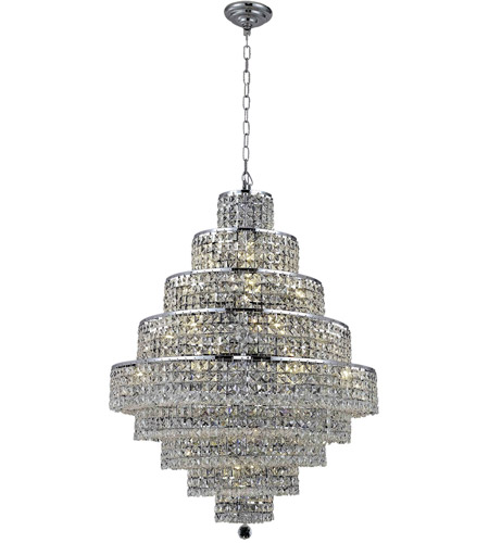Elegant Lighting Maxim 20 Light Dining Chandelier in Chrome with Spectra Swarovski Clear Crystal 2039D30C/SA photo