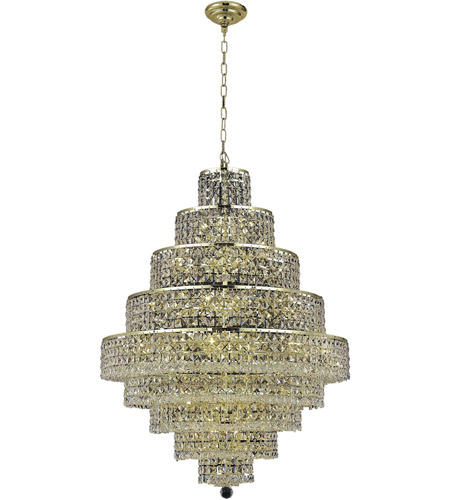 Elegant Lighting 2039D30G/SS Maxime 20 Light 30 inch Gold Dining Chandelier Ceiling Light in Clear, Swarovski Strass photo