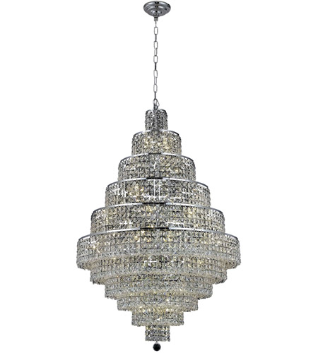 Elegant Lighting Maxim 30 Light Dining Chandelier in Chrome with Royal Cut Clear Crystal 2039D32C/RC photo