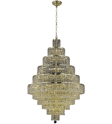 Elegant Lighting 2039D32G/SA Maxime 30 Light 32 inch Gold Dining Chandelier Ceiling Light in Clear, Spectra Swarovski photo