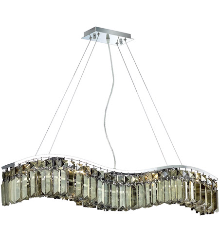 Elegant Lighting Contour 6 Light Dining Chandelier in Chrome with Royal Cut Golden Teak Crystal 2040D30C-GT/RC photo