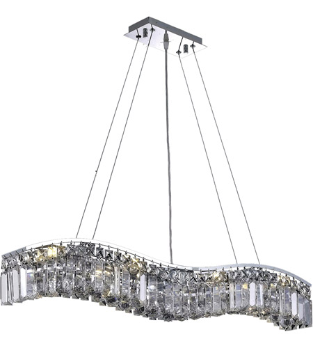 Elegant Lighting Contour 8 Light Dining Chandelier in Chrome with Spectra Swarovski Clear Crystal 2040D36C/SA photo