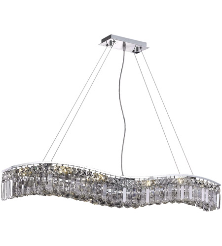 Elegant Lighting Contour 10 Light Dining Chandelier in Chrome with Royal Cut Clear Crystal 2040D44C/RC photo