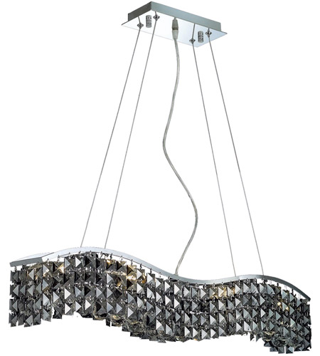 Elegant Lighting Contour 6 Light Dining Chandelier in Chrome with Royal Cut Silver Shade Crystal 2041D30C-SS/RC photo